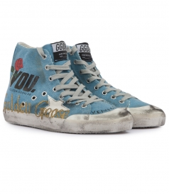 HAND CUSTOMISED FRANCY SNEAKERS WITH SHINY LEATHER STAR