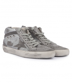 MICROGLITTER-COATED CALF LEATHER MID STAR SNEAKERS