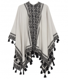 BLACK & WHITE EMBROIDERED PONCHO WITH TASSELS