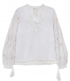 SALES - MARINA CUTWORK-LACE COTTON BLOUSE