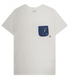 PATCHED DENIM CHEST POCKET TEE