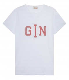 GIN PRINT COTTON TEE WITH STRIPES
