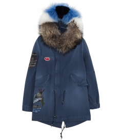 EMBROIDERY SALINE PARKA WITH FUR COLLAR