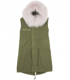 SLEEVELESS WAIST COAT WITH  FUR COLLAR