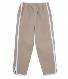 BEIGE JOGGER-STYLE CROPPED PANTS WITH SIDE BANDS