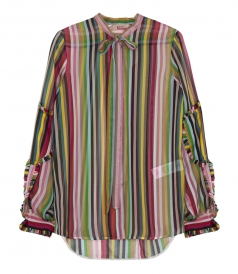 MULTICOLOUR STRIPED SHEER SILK SHIRT WITH ROUCHES