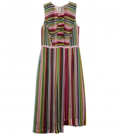 MULTICOLOUR CHIFFON DRESS WITH MICRO ROUCHES
