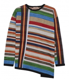 KNITWEAR - MULTICOLOUR STRIPED ASYMMETRIC LONG SLEEVE SWEATER
