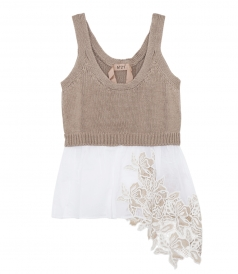 LAYERED KNITTED TANK WITH LACE HEM