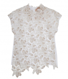 WHITE SILK & ACETATE BLEND EMBROIDERED BLOUSE