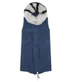 BLUE SLEEVELESS WAIST COAT WITH FUR COLLAR