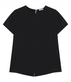 CREWNECK SHORT SLEEVE TOP WITH KEYHOLE BACK DETAIL