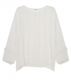 ANJA ENTRE DEUX LACE AND MICRO ROUCHES DETAILS BLOUSE