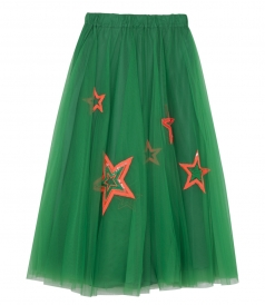 TULLE MAXI SKIRT WITH SEQUINED STAR PATCH DETAIL