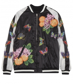 EMBROIDERED BOMBER JACKET WITH RIBBED HEM