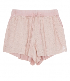 SEQUINED SHORTS WITH ELASTIC WAISTBAND