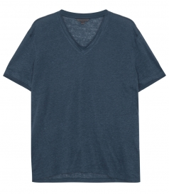 LINEN JERSEY DETAILED V-NECK SOFT TEE