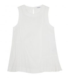 COTTON FLARED TANK TOP WITH SIDE CURLING