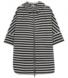 3/4 SLEEVE HOODED STRIPED COAT