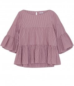 3/4 SLEEVE FLARED BLOUSE WITH STRIPES