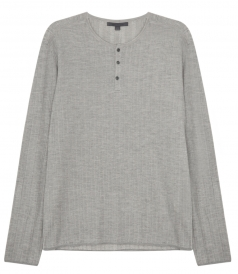 SILK & COTTON BLEND RIBBED HENLEY