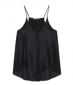 CHIFFON TRIMMED SILK CHARMEUSE TOP WITH SPAGHETTI STRAPS