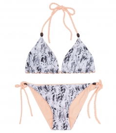MOZAMBIQUE FEATHER-PRINT REVERSIBLE ROPE TRIANGLE BIKINI
