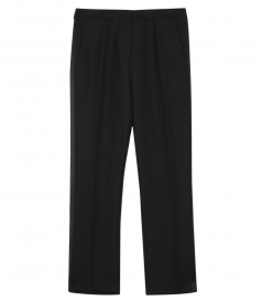 BLACK TAILORED PANTS  FEATURING SILK PANELLING AT THE SIDE