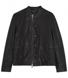 ZIP AND BUTTON FRONT CLOSURE BLACK LEATHER RACER JACKET