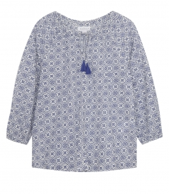 PRINTED COTTON SHIRT WITH 3/4 SLEEVE