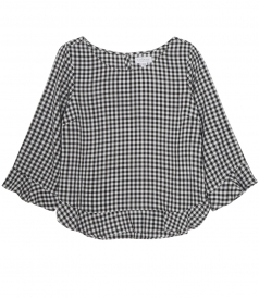 CHECKED FLARED CREWNECK BLOUSE