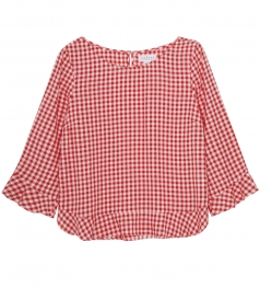 VELVET BY GRAHAM & SPENCER - CHECKED FLARED CREWNECK BLOUSE