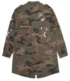 VERSILIA CAMOUFLAGE PARKA WITH EMBROIDERY DETAILING