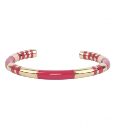 POSITANO STRIPED GOLD & FUSCHIA ENAMEL BANGLE