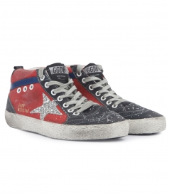 SUEDE DETAILED MIDSTAR SNEAKERS WITH GLITTERED STAR