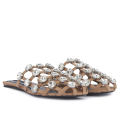 JEWELED AMELIA SANDAL WITH GRID PATTERN