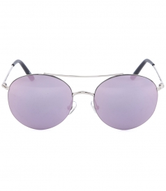 SILVER ROUND AVIATOR SUNGLASSES WITH PINK MIRRORED LENSES