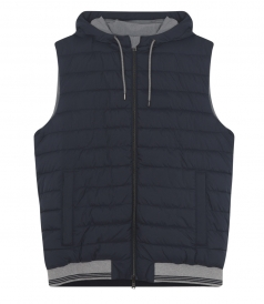 DOUBLE FACE HOODED VEST WITH CONTRASTING HEM