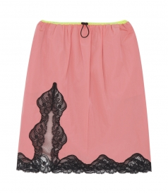 LACE TRIM MIDI SKIRT FT CONTRASTING WAISTBAND