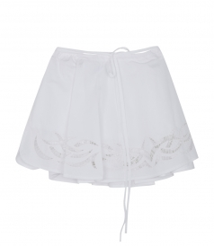 A-LINE MINI COTTON EMBROIDERED WRAP SKIRT