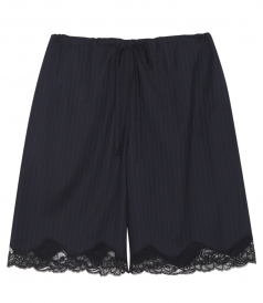 LACE TRIM STRIPED BERMUDA SHORTS