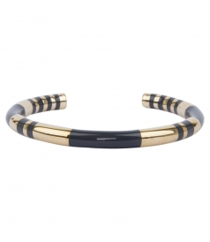 POSITANO STRIPED GOLD & BLUE ENAMEL BANGLE