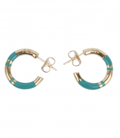 POSITANO STRIPED TURQUOISE ENAMEL HOOP EARRINGS