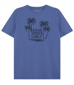 GOOD VIBES ONLY & PALMS PRINT CREWNECK TEE