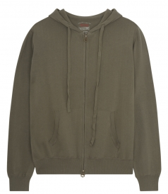 ZIP FRONT CLOSURE PURE COTTON HOODIE