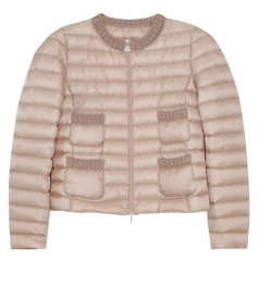PALMIER FEATHER DOWN JACKET FEATURING RIBBED KNIT DETAILS