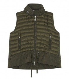 WATER REPELLENT HOODED DOWN FEATHER VEST