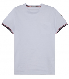 COTTON CREWNECK T-SHIRT WITH PIPED SHORT SLEEVES