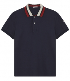 RIBBED CONTRAST COLLAR COTTON POLO