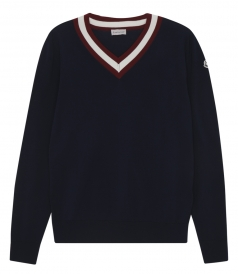 TRICOLOR CONTAST COLLAR KNITTED PULLOVER WITH RIBBED HEM